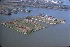Ellis Island, which welcomed hundreds of thousands of immigrants from Europe during a great period of growth and industrialization in the US