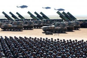 Chinese troops, missile launchers, and helicopters