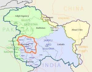 The Kashmir Valley (small area within pink circle) is 95% Muslim and opposed to its Indian rulers.