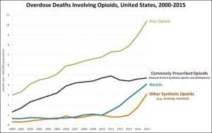 Chart of opioid death by type and year