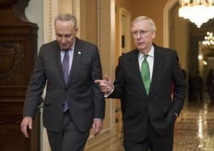 "Senators Schumer and McConnell. Breitbart: ""Schumer, McConnell Rammed Through Vote on $300 Billion, 652-Page Budget in 18 Hours"""
