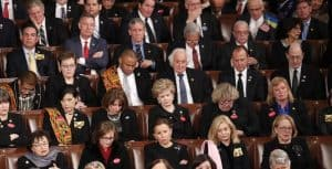 Stony-faced Democrats at President Trump's first State of the Union address
